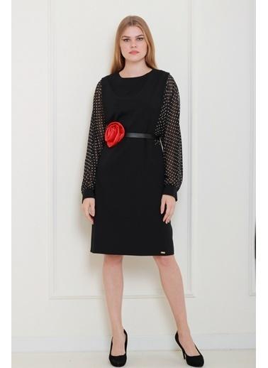 JEANNE D'ARC Kolları Puantiyeli Kırmızı Saten Çiçek Kemerli Elbise  Siyah